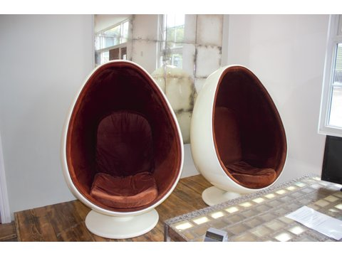 Pair of Original Retro 1960's - 1970's Egg Chair