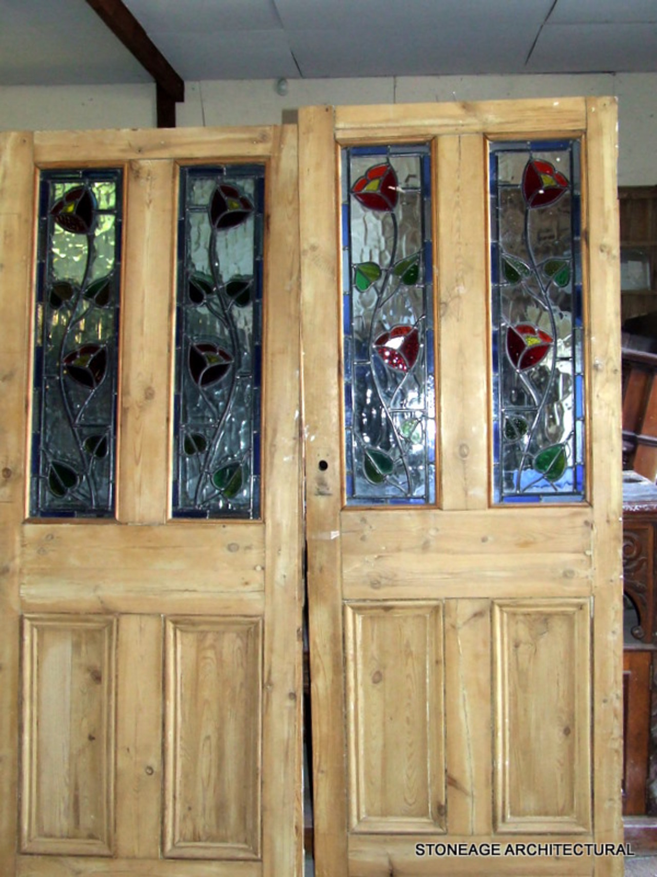 Edwardian Drawing Room: PAIR OF PERIOD INTERIOR STAINED GLASS DOORS
