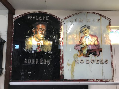 Hand painted jazz/blues artists on glass/mirrors