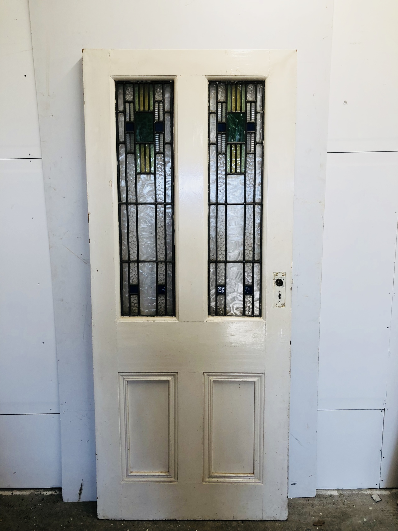 Original Period Internal Door With Stained Glass Reclaimed Period