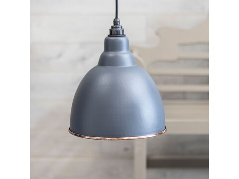 Dark Grey & Hammered Copper Brindley Pendant